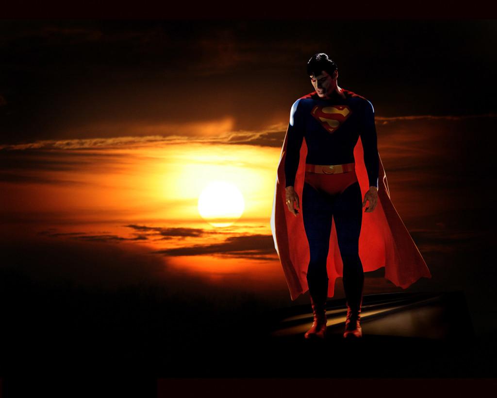 Hình nền siêu nhân trên bầu trời kỳ diệu cực độc