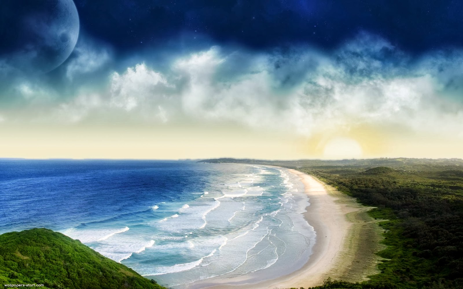 Hình nền bãi biển xanh bao la cùng bầu trời ...